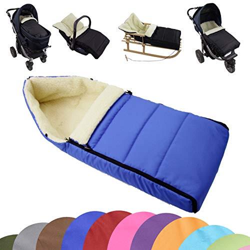 BAMBINIWELT universele wintervoetenzak (90 cm), ook geschikt voor babyschaal, kinderwagen, buggy, van wol effen gelinieerd blauw