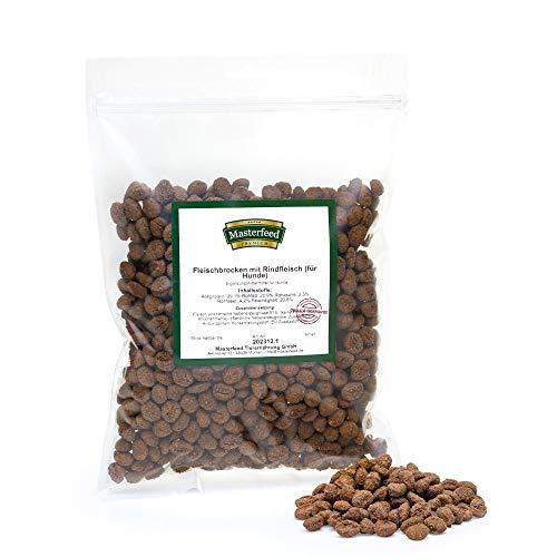 Masterfeed Leckerli Brocken Rind - 90% Fleischanteil - Getreidefrei - 100% Natürlich - Hundeleckerli Größe 500 g