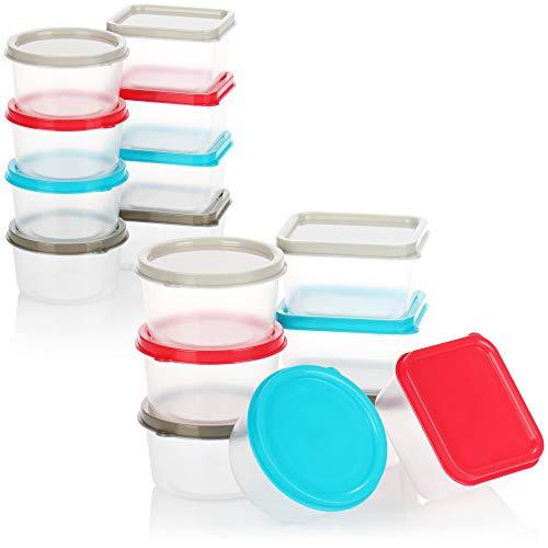 com-four® 16-teiliges Vorratsdosen Set aus Kunststoff - runde Dosen und eckige Dosen - Aufbewahrungsdosen für kleine Dinge - je Dose 65ml