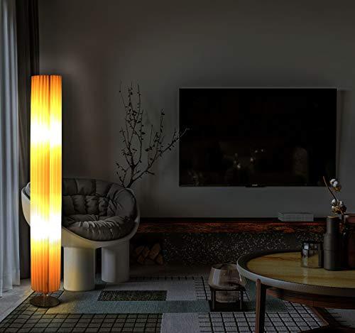 Trango 120RL Design Plissee LED Stehleuchte *NIZZA* Stehlampe inkl. 2x 4 Watt E27 LED Leuchtmittel, Wohnzimmer Lampe, Standleuchte rund – Lampenschirm Durchmesser: 14cm Ø - Höhe: 120cm