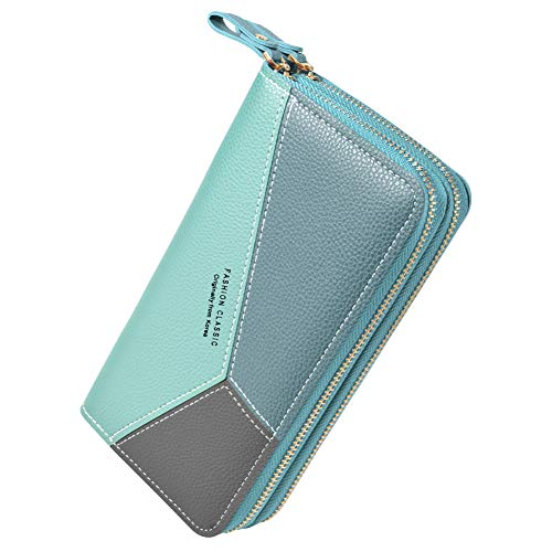 PGXT Women's Wallet, Card Holder Purse Zipper Elegant Clutch Wallet Coin Purse (Pink) (Blue)
