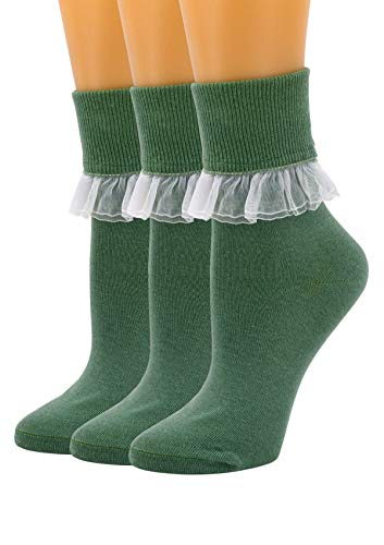 SEMOHOLLI Women Ankle Socks, Women Lace Ruffle Frilly Ankle Socks Fashion Ladies Girl Princess (3 Pairs-Green)