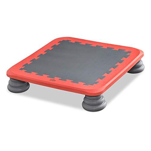 RiZKiZ ジャンピングボード 【レッド】 65×65cm ボード型トランポリン ジャンプ 室内用 耐荷重100kg ジャンプ バランス感覚 体幹 筋力 トレーニング 静音 安全 フィットネス 子供