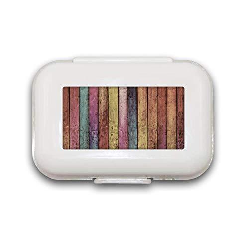 Sunok Pillendose aus Holz, magnetisch, Regenbogenfarben, Pillendose, Pillendose für Taschen oder Geldbeutel, 8 Fächer, Pillendose