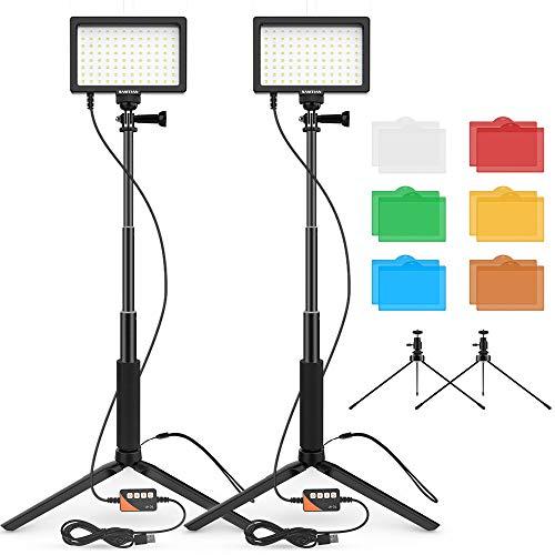 SAMTIAN Lumiere LED Video Lampe vidéo 5600K Kit d'éclairage de Photographie de 96 Perles de Lampe, Trépied Réglable avec Prise USB pour L'enregistrement Vidéo de Prise de Vue à Faible Angle de Bureau