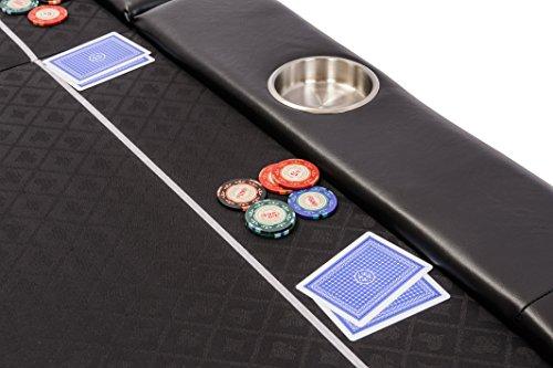 Riverboat Faltbare Pokerauflage mit Schwarzem wasserabweisenden Stoff und Tasche – Pokertisch 200cm - 5