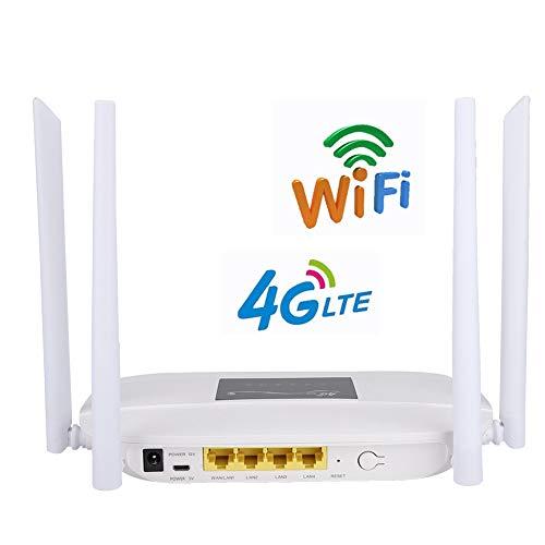 Gigabit WLAN-router met 300 Mbit / s, 2,4 GHz Internet Repeater / WLAN-signaalbereikvergroter, 4 externe antennes, volledige dekking met Gigabit Ethernet-poorten. (EU-stekker)