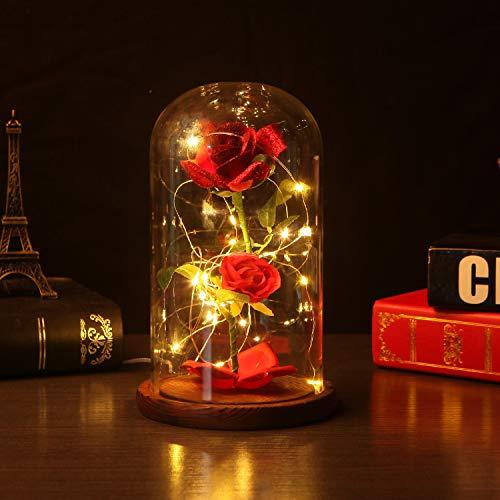 Timker La Bella e La Bestia Rosa Eterna Luce di Vetro Rosa Cupola Luce a LED Fiore Artificiale Seta Rossa con Base Legno Lampada Anniversario di Matrimonio Festa della Mamma