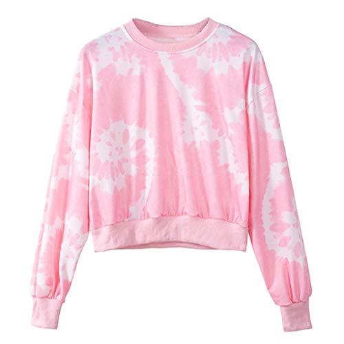 Purchase Women Pullover Sweatshirt Crewneck Floral Long Sleeve Crop Blouse Casual Loose Fall TeeTop
