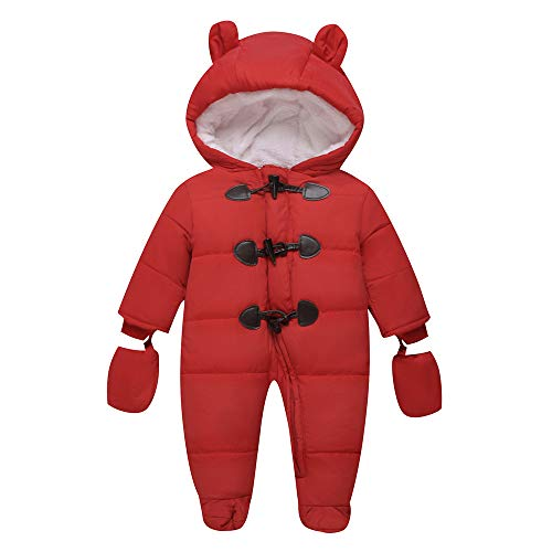 Baby Winter Clothes Newborn Fleece Bunting Infant Snowsuit Girl Boy Snow Wear Outwear Coats 0-24 Months (6-9M, Red)