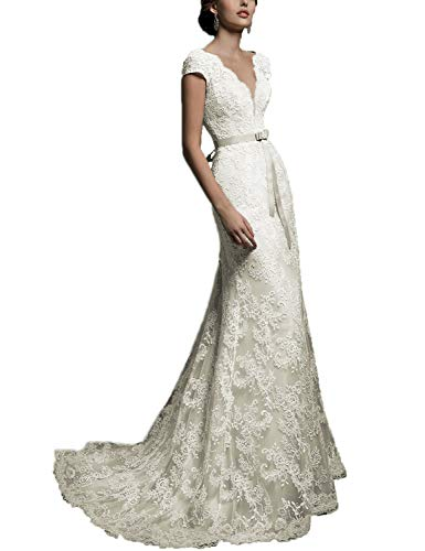 Long Plus Size Wedding Dresses for Women Lace Appliqued Evening Dress 2019 Empire Waist Formal Ball Gown Bridal Gown with Cap Sleeves V Neck Party Dress WD236 Off Shoulder Custom Size