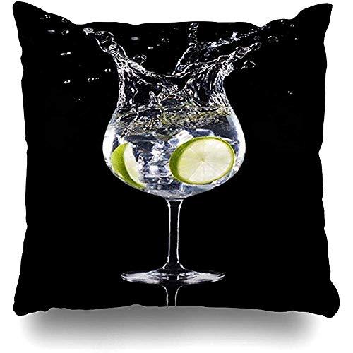 Babydo Kussensloop Groene Splash Gin Tonic Cocktail Splashing Voedsel Drink Zwart Alcohol Bar Drank Citrus Kussensloop Vierkante Kussen Kussen Case Home Decor 45X45cm