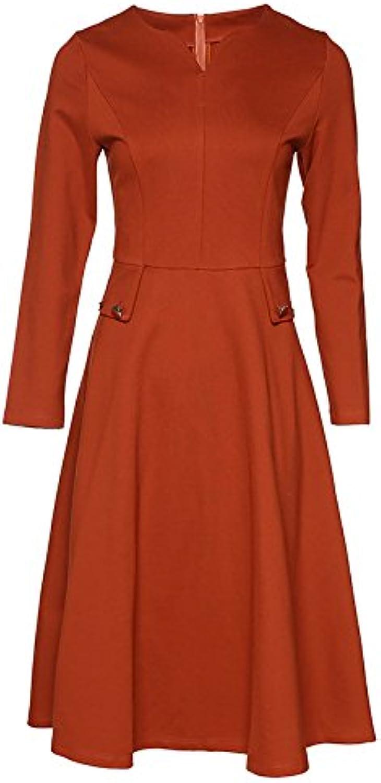 Self cultivation dress, autumn and winter women's V collar temperament, long length of self-cultivation big pendulum dress,orange red,L
