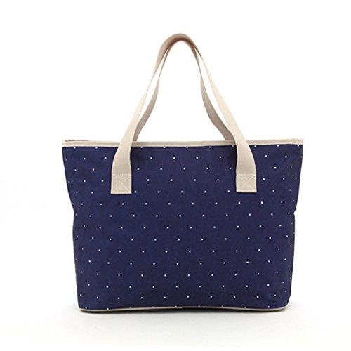 Femmes Mode Trend Sac à bandoulière Messenger Bag Mummy Leisure Shopping Bag Femmes Enceintes Paquet Large (Couleur : Dark Blue Dot)