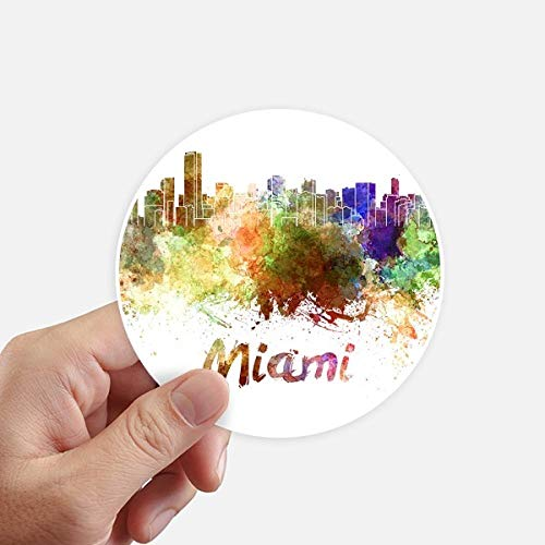 DIYthinker Miami America City Watercolor Round Stickers 10Cm Wall Suitcase Laptop Motobike Decal 8Pcs