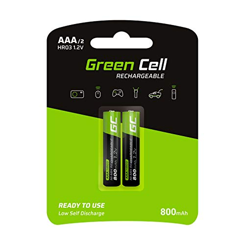 Green Cell 800mAh 1.2V 2 Stck Vorgeladene NI-MH AAA-Akkus - Akkubatterien AAA/Micro, sofort einsatzbereit, Starke Leistung, geringe Selbstentladung, wiederaufladbare Akku Batterie, ohne Memory-Effekt