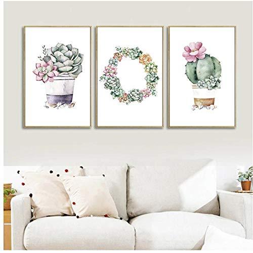 DLFALG Planta suculenta Pastoral nórdica Lotus Lithops Bonsai cuadro de pared lienzo pintura para sala de estar dormitorio decoración de pared 40x50cmx3 sin marco
