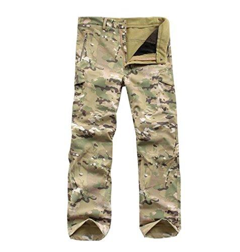 Pantalones tácticos de camuflaje para hombre, para caza y camping, impermeables, de cáscara suave, resistentes al desgaste (CP Camouflage, L)