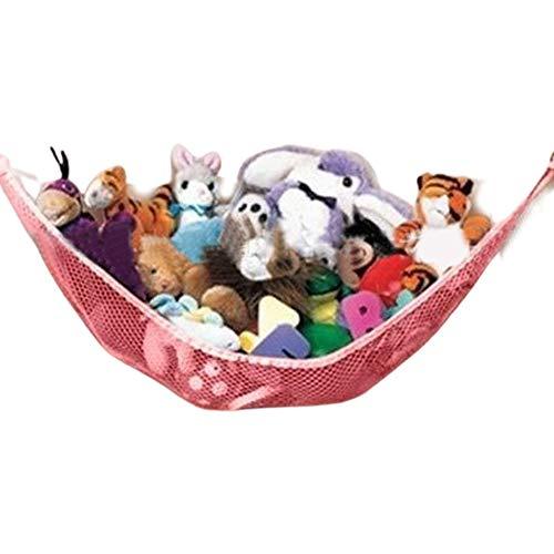 Toy Hammock Stuffed Animal Storage Hammock 1 Pack Mesh Children's Toy Hanging Organizer for Store Plush Toys Pet Plush Toys Dolls Pink