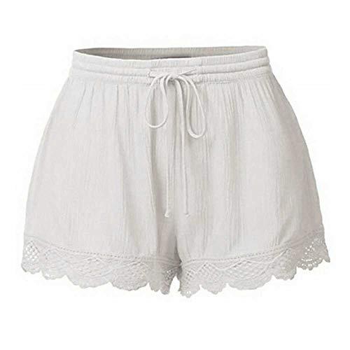 Pantalones Cortos de Verano con Estilo para Mujer Pantalones Cortos de Encaje Sexy Pantalones Cortos de Corbata de Talla Grande Pantalones Deportivos para Mujer Pantalones Cortos