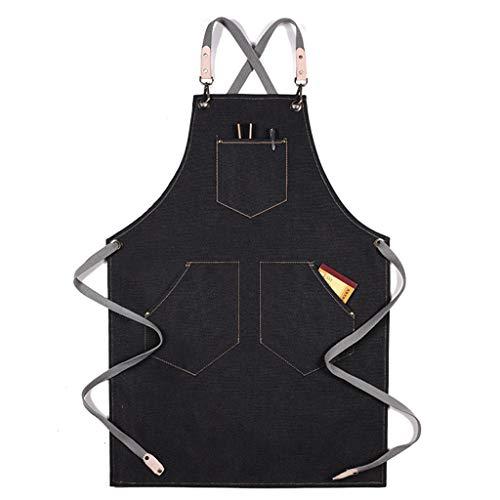 haoyuestory Delantal, delantal de chef, delantal de lona de algodón ajustable con bolsillos, duradero y lavable a máquina, estilo de diseño de moda, adecuado para hombres y mujeres, cocinero