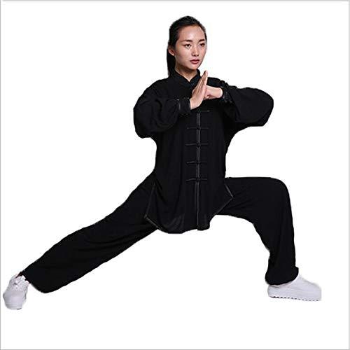 llh Fraus Tai Chi Kleidung Chinesische Tang Klage Nationale Kostüme Qi Gong Wing Chun Anzug Damen Meditations Anzug Zen Leinen Lange Ärme Geeignet Für Frauen,Black-M