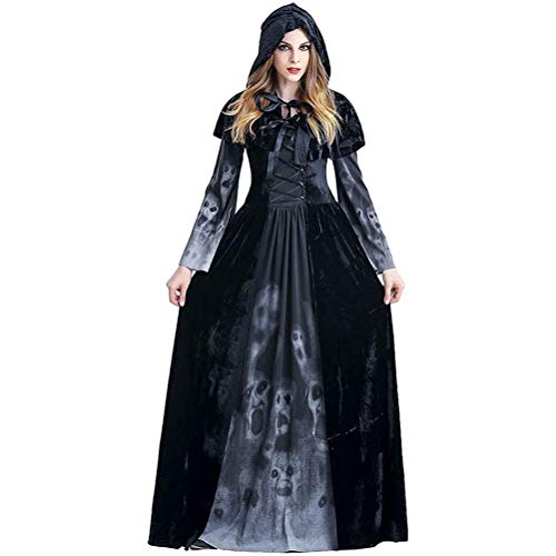 YEKKU Bruja Disfraz Vampiresa de Mujer Halloween, Calavera de Demonio Disfraz de Novia Fantasma Delgada de Encaje Vestido de Manga Larga para Disfraces Fiesta ()