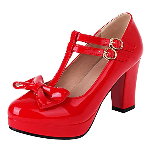 SacciButti Dolce Donna Lolita Scarpe Alto Tacco a Bloccos Scarpe con Bowknot Punta Rotonda Estate T-Strap Scarpe Cosplay Scarpe Red Dimensione 36 Asiatico