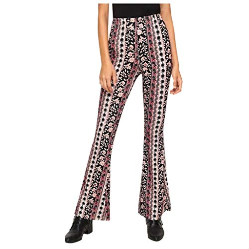 Kcocoo Women's High Waisted FlaS Multi 2 Palazzo Trousers Ethnic Print Bell Bottom Trousers - Ladies Spring and Summer Sexy Tight-Fitting Hip Hippie Boho Comfy Stretchy Lounge Trousers(S Multi 2,M)