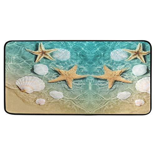 Starfish and Seashell On The Summer Beach Kitchen Mat Rugs Cushioned Chef Soft Non-Slip Floor Mats Washable Doormat Bathroom Runner Area Rug Carpet
