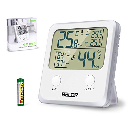 Jovego Temperatura Higrometro Digital,Termómetro Higrometro Digital de Interior para Casa Ambiente Medidor de Temperatura y Registrando Máximo/Mínimo Digital Termohigrómetrocon Retroiluminación