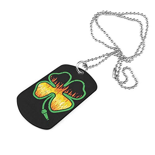 Firefighter Shamrock Military Necklace Dog Tag Pet Card Keychain Pendant Ball Chain