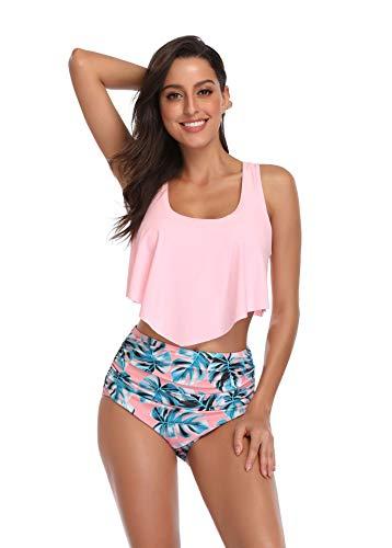 Women 2 Piece Bikini Sets Swimsuits Tankini Top High Waisted Blue Floral Printing Bottom (S, Pink)