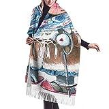 Bufanda de mantón Chales para, Unisex 's Moda Mantón largo Seersucker Rayas Patrón sin costuras Bufanda de invierno de repetición clásica Cachemira Sensación Pashmina Mantón Wraps Suave cálido