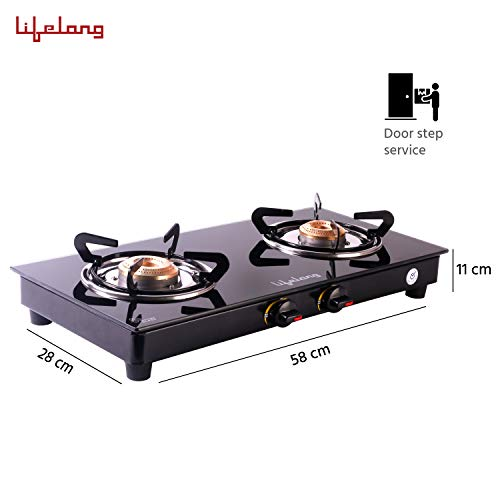 Lifelong LLGS10 2 Burner Glass Top Manual Gas Stove; ISI Certified, Door Step Service, Gas Inlet Pipe on Right Side, Easy to Clean Gas Stove (1 year warranty) – Black