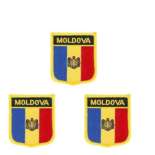 Flicken zum Aufbügeln oder Aufnähen, Moldawien-Flagge, bestickt, Schild-Form, 3 Stück