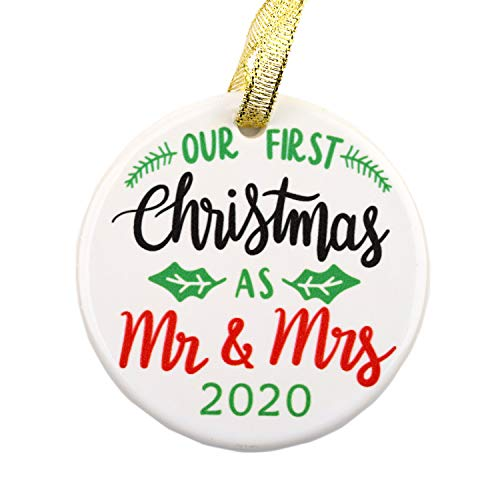 Julius Thomson Our First Christmas as Mr and Mrs Ornament 2020 Rustic 1st Year Married Newlyweds 3' Flat Circle Porcelain Ceramic Ornament w Glossy, Christmas Decorations, Ornament with Ribbon