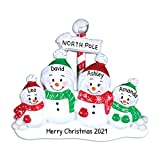 Personalized North Pole Family of 4 Christmas Tree Ornament 2021 - Snowman Parent Child Hat Play Snowball Red Green Candy Cane Sign Winter Activity Tradition Gift Year - Free Customization (Four)