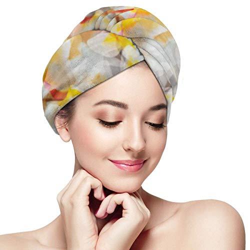 XBFHG Enveloppes De Serviette De Cheveux en Microfibre pour Les FemmesCapuchon De Cheveux Secs Rapides avec Bouton - Marbre Abstrait Coloré Camouflage Moderne Exotique Numérique Ressemble À Liquide