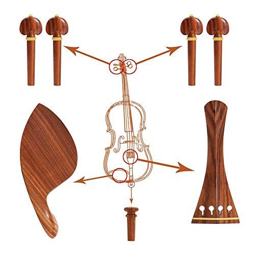 Violin Zubehör Kit - 4/4 Violin Kit Full Size Violin Zubehör Palisander Violin Peg Saitenhalter Chin Rest End Pin, Palisander
