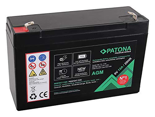PATONA Premium AGM 6V 12Ah Blei Batterie VRLA Wartungsfrei 1800 Zyklen