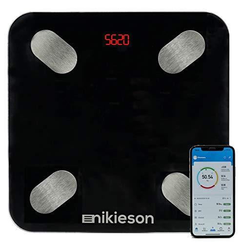 Bilancia Pesapersone Digitale Professionale Al Led Elettronica Impedenziometrica Bluetooth Misura Peso Corporeo BMI Grasso Corporeo Acqua BMR Massa Muscolare e Metabolismo, 180kg