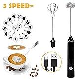 Queta Montalatte elettrico, montalatte elettrico 2 in 1 + mestolo caffè, montalatte USB ricaricabile con 16 pezzi di stampo per fiori pull, per caffè/latte/cappuccino