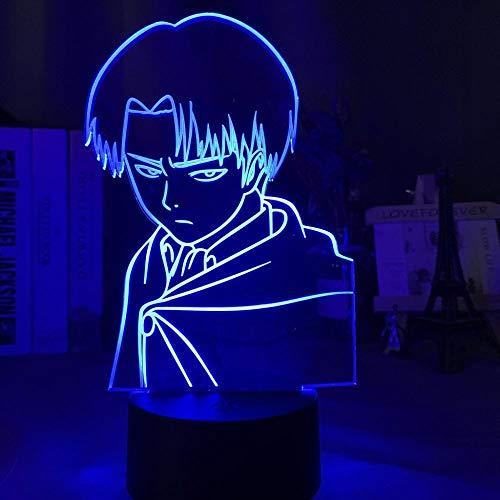 Lámpara de ilusión 3D Luz de noche LED Capitán Levi Ackerman Muñeca para niños Dormitorio Decoración de dormitorio Lámpara de mesa colorida Attack Titan Gift Home Office Restaurant Party