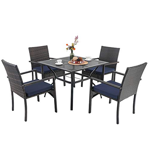 """PHI VILLA Outdoor Dining Sets, 37' Square Metal Bistro Table with 1.7"""" Umbrella Hole and 4 Rattan Garden Chairs for Patio, Porch - 5 Piece Black"""
