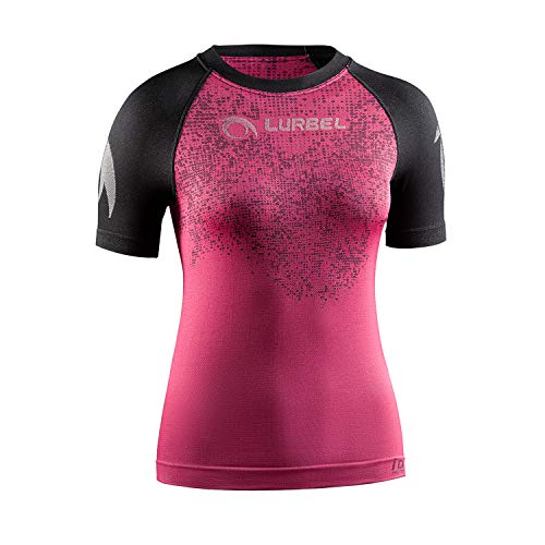 LURBEL Samba Pixel Woman, Camiseta de Trail Running, Camiseta Deportiva de Mujer, Camiseta Transpirable y Anti-Olor, Camiseta para Correr. (Fucsia - Negro, Mediana - M)