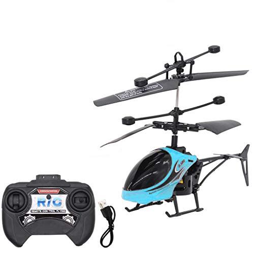 MaNMaNing Mini telecomando a induzione a infrarossi RC elicottero giocattolo 2CH Gyro Helicopter RC Drone Migliori regali per bambini (- Blu, About 17.5 x 4.3x 11.5cm)