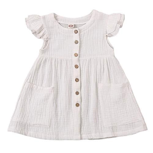 Kids Baby Girls Organic Cotton Ruffled Sleeve Tunic Dress Swing Casual Sundress Party Princess Dresses (White, 1-2 Years)