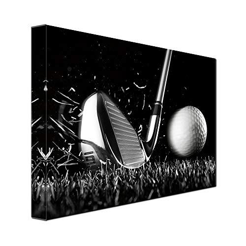 gold mi 1 Piece Canvas Print Black and White Poster Wall Art Picture Golf Ball Sport Canvas Painting for Gym Living Room Wall Decor Frame Canvas (12x16inch)