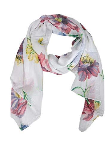 Zwillingsherz Zwillingsherz Seiden-Tuch mit Blumen Motiv - Hochwertiger Schal für Damen Mädchen - Halstuch - Umschlagstuch - Loop - weicher Schlauchschal für Frühjahr Sommer Herbst und Winter - weiß